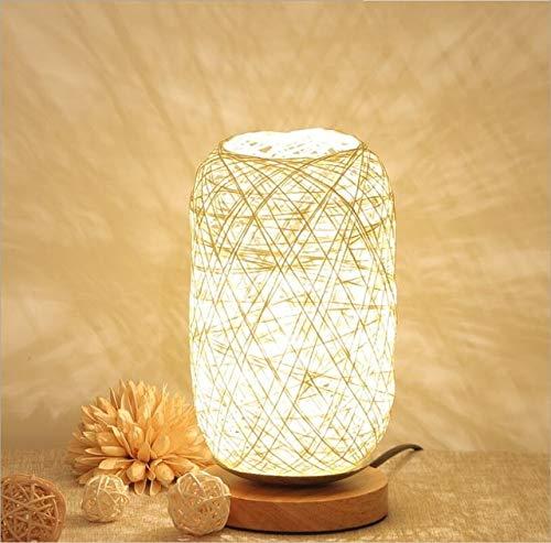 RAQ Creatieve tafellamp met de hand gebreide lampenkap licht bedlampje slaapkamer decoratie kinderen geschenk lichten LED nachtlampje Bg