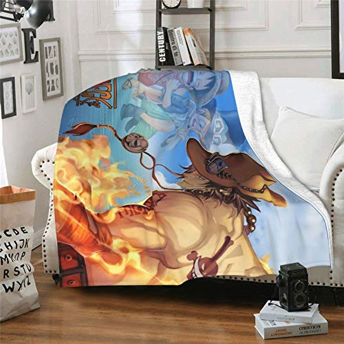 xuxirthv Classic Ultra-Soft Micro Anime Blanket with 80 x 60 in, Folding No Fading Japanese Anime One Piece Portgas D. Ace Bed Blanket, Lightweight Desk Blanket for Adult Couch Office