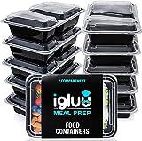 Boîtes alimentaires à 2 compartiments pour préparation des repas (Lot de 10)