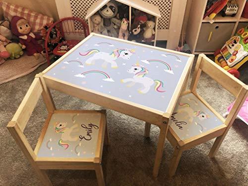 MakeThisMine Ikea LATT - Juego de escritorio de madera para niños con cualquier nombre, unicornio, espacio, arco iris, princesa, mapa de cuento de hadas impreso para niños y niñas (Unicorn Glitter)
