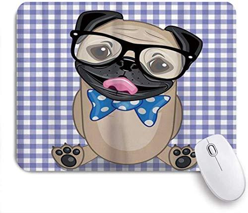 Nerdy Brille Und Gepunktete Fliege Auf Einem Welpen-Mops Mit Einem Karierten Hintergrund Mausmatte,Gummiunterseite Maus Pad,Schreibtischunterlage,Mausunterlage