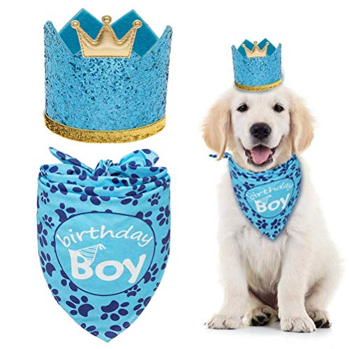 Dog Birthday Bandana with Crown Hat - Triangle Scarfs and Cute Party Hat for Pets, Blue