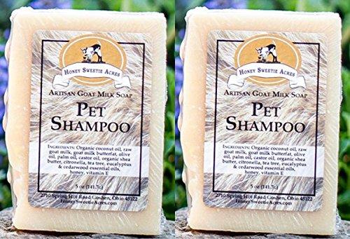 Honey Sweetie Acres Premium Pet Shampoo Goats Milk Essential Oil Bar - FIX Your PET'S Skin! (Pack of 2)
