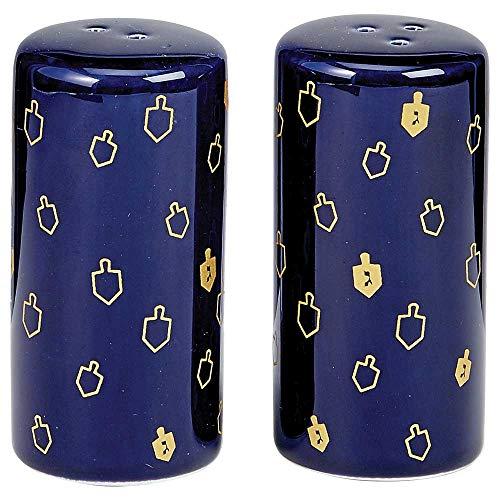 Rite Lite Chanukah Salt & Pepper Shakers with Gold Accents - Hanukkah Kitchen Tableware 3.25' h