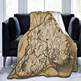 Skyrim Worn Parchment Map Fleece Blanket Ultra-Soft Micro Blankets for Couch Bed Beach Camping Or Travel Soft and Warm Throw Blanket (80'x 60') Queen-Size for Adults Man Women