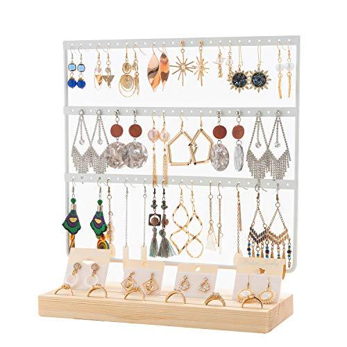 QILICZ Soporte para pendientes con 69 agujeros, soporte para joyas, color blanco, de metal, organizador con anillos de madera, expositor para pendientes, 30 x 27 cm