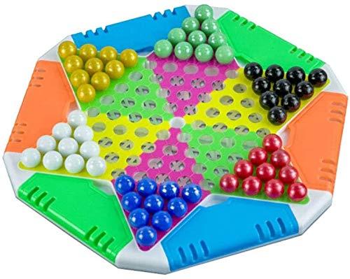 Schaakbord speelgoed Chinees Dammen, volwassen Casual Party Games, glazen kralen/Kleurrijke Porselein kralen Checkers, Plastic Schaakbord, licht van gewicht, gemakkelijk te dragen, Gezond materiaal