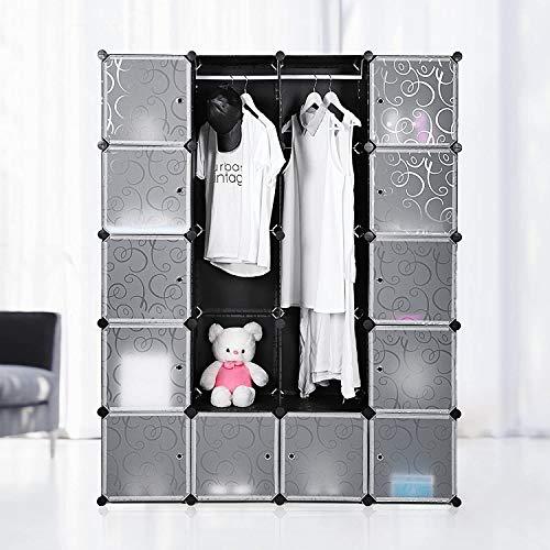 Krispich Regalsystem, 20 Würfel, Kleiderschrank aus Kunststoff, mit Türen, Schuhregal, Aufbewahrung von Kleidung, Schuhen, Spielzeug und Büchern, Steckregal, einfache Montage, schwarz