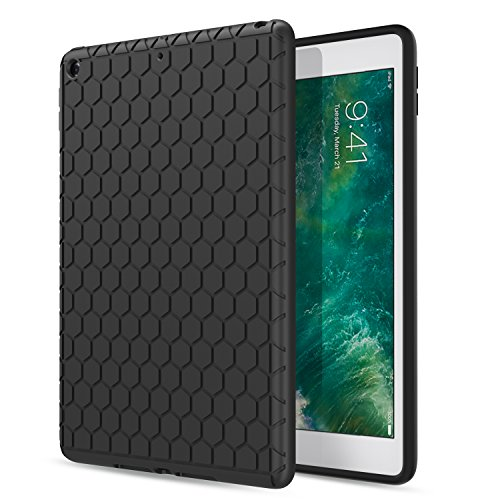MoKo Fit 2018/2017 iPad 9.7 6th/5th Generation - Light Weight Shock Proof Soft Silicone Back Cover [Kids Friendly] Fit iPad 9.7 Inch 2018/2017, Black