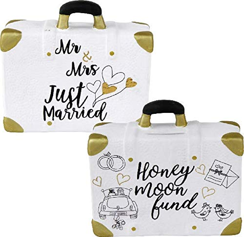 Home Collection - Hucha para boda, maleta, luna de miel, Mr & Mrs Just Married, Honey Moon Fund, 14,8 x 6 x 13 cm