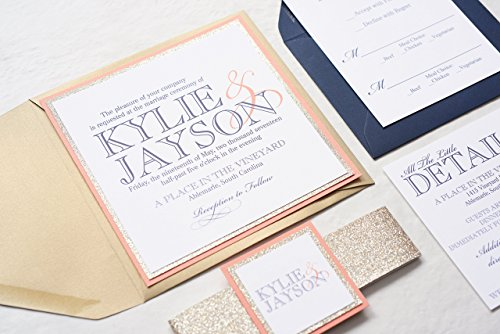 Custom Square Wedding Invitation with Glitter Band, Bling Invitations, Modern Invites, Kylie Sample