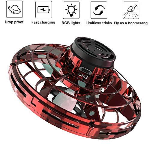 Pulilang Spinner Volador Flynova Mini UFO Spinner para Adultos y Niños Operado a Mano en Interior y Exterior Giro de 360°Detección Auto de Obstáculos Resistente Luz LED Juguete Volador Interactivo