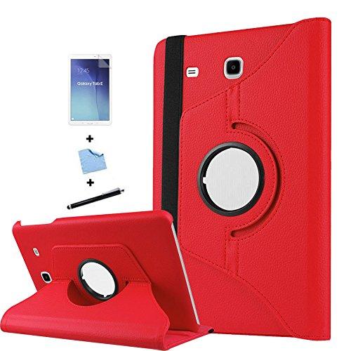 TIODIO 4 en 1 Case Cover Custodia per Samsung Galaxy Tab E 9.6-Inch SM-T560/SM-T561 Cover in Ecopelle con Meccanismo di Rotazione di 360° per Posizionamento Verticale ed Orizzontale del Tablet,Pellicola di Protezione e dello stilo Incluse, Rosso
