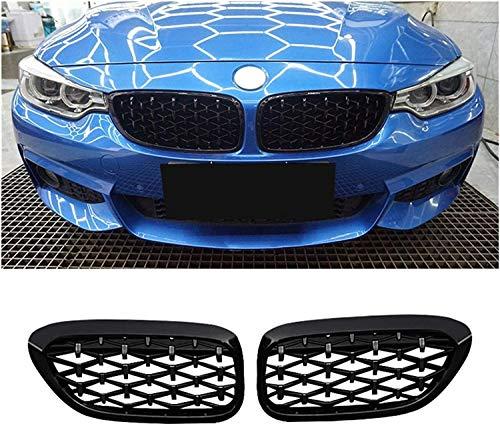 Rejilla de radiador Rejilla de carreras de parrilla delantera de coche de diamante de 2 piezas para B-MW F30 F35 F10 F11 F18 E70 E71 F15 F16 3 5 Series X5 X6 Accesorios (Color: F10 plateado y negro)