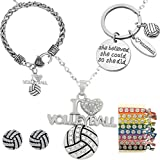Volleyball Girl Gifts Set, Volleyball Girl Necklace, Volleyball Girl Bracelet, Volleyball Earrings, Volleyball Keychain, Volleyball Ponytail Ties for Girl, Volleyball Girl Jewelry Set, Volleyball Gift