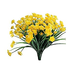 Artificial Fake Flowers, 6pcs Faux Yellow Daffodils Greenery Shrubs Plants Plastic Bushes Fence Garden Wedding Farmhouse Indoor Outside Decor