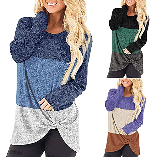 Camiseta de manga larga para mujer con cuello redondo, diseño de rayas, estilo casual, cuello redondo, suelto, manga larga, verde, L