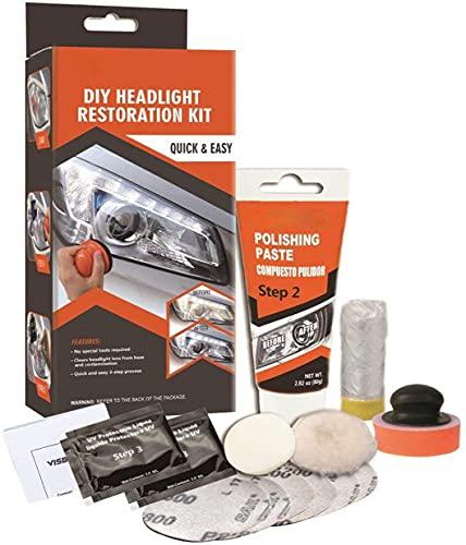 Visbella Kit de réparation de phares pour Bricolage de Phare éclaircisseur de Voiture Kit de réparation de Lampe de Nettoyage (Manual-g)