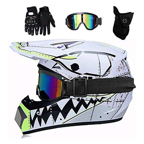 ZHUOYU Motocross Helmet,Motorrad Crosshelm Set,Downhill Enduro Helm Integralhelm,Jugend Kinder Dirt Bike Helme,Haifischform,DOT Zertifizierung,ATV/MTB/MX,Brille/Handschuhen/Maske (M (54-55 cm),B)