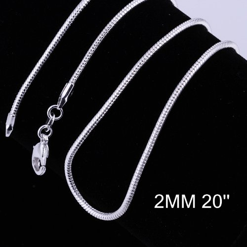 Yuren 3 Pieces 925 Sterling Silver 2mm Snake Chain Necklace Jewelry Jewelry for Men and Women(16-24 Inch) (20 inch)