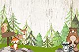Yeele 7x5ft Woodland Baby Shower Backdrop Little Deer Fox Bear in Jungle Photography Backgrounds Wild Adventure Baby Shower Party Decoration Nursery Activity Baby Room Photoshoot Props
