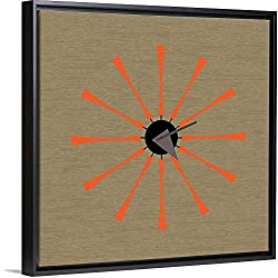 Mid Century Spindle Clock Black Floating Frame Canvas Art, 18x18x1.75