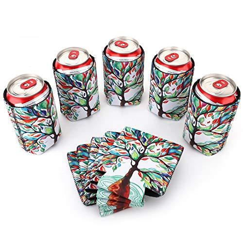 Nuovoware Dosenkühler, 10 Stück Neopren Zusammenklappbare Isolierte Flaschenkühler für Dosen Flaschen Bier Softdrink Faltbare Dosenhülle Cooler Sleeve für BBQ Partys - Glücklicher Baum