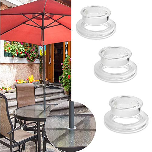 FCOUIID 2' Patio Umbrella Table Hole Cap and Ring Plug for Outdoor Glass Patio Table, Keep Umbrella from Rocking & Breaking The Glass Table, Clear (3pcs)