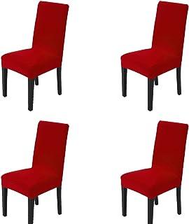 Esszimmer Stuhl Abdeckungen Satz von 4, MAIKEHOME reine Farbe Spandex Stretch gefärbt Stuhl Hussen für Hotel Küche Restaurant Hochzeit Party Decor (Rot, 4ST)