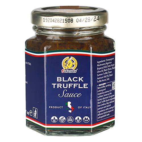 SUNGIVEN Black Truffle Sauce, Made In Italy, Gluten Free, Non GMO, Black truffle Mushroom Paste 3.17 Oz