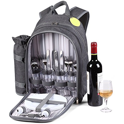 GEEZY Denim Picnic Cooler Bag Backpack Wine Bottle Insulated Picnic Cool Carrier 4 Person Backpack