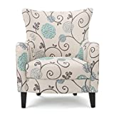 Venette | Ivory and Blue Floral Fabric Club Chair