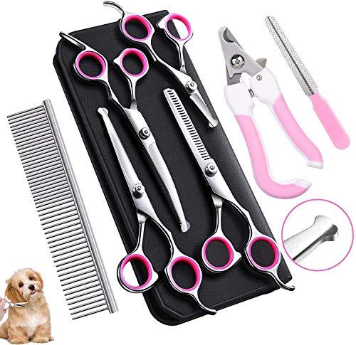 Tijeras para perros-Juego de tijeras de aseo para mascotas, 7 piezas