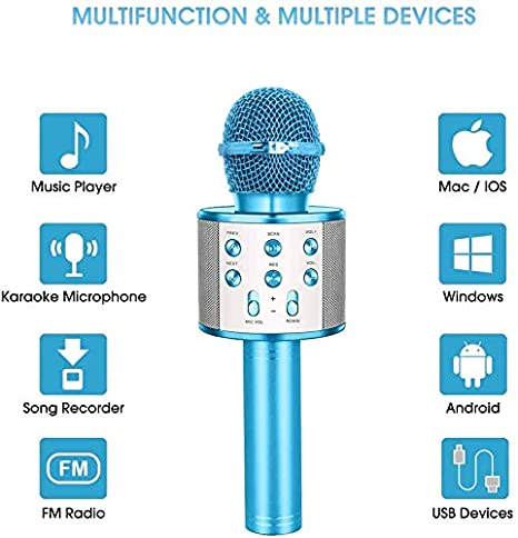 Wireless Karaoke Microphone,Bluetooth Karaoke Microphone Handheld Portable Karaoke Player Home KTV Player with Record Function,Compatible with Android /& iOS Devices for Home KTV Party Kids