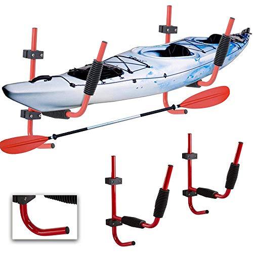 Heavy Duty Steel Kayak Wall Rack for 100-Pound Kayak | Ladder Wall Mount FoldingStorage Rack fit Indoor Outdoor Storage Kayak, Surfboard and Sailing (1 Pairs)