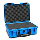 HILDRYN Waterproof Camera Case with Foam Insert,Blue 13.18x10.23x5.12 inches Plastic Tool Instrument Portable Storage Case forTravel, Household,Car Tools Equipment