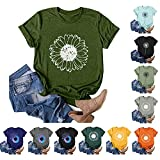 Womens Short Sleeve Tops, Womens Loose T-Shirts Casual Dandelion Printing O-Neck Blouse Tops Funny Graphic Tee Shirts