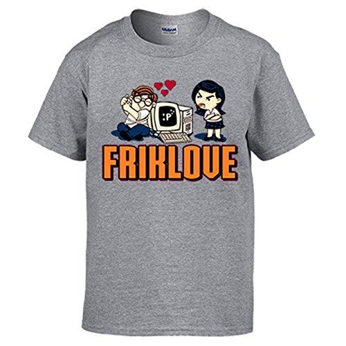 Diver Camisetas Camiseta Friklove Regalo Amor Frikis Novio Novia - Gris, L