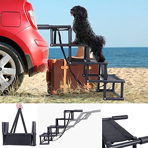 ElevenII Car Steps für Hunde, rutschfeste, klappbare Pet Steps für kleine und große Hunde, Metallrahmen-Pet-Rampe für Hochbetten, Lastwagen und SUV, Unterstützung für 150 Pfund große Hunde