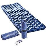 RikkiTikki Premium Lightweight Inflatable Sleeping Pad - Compact Camping Mat for Sleeping - Best Air Camping Mattress Pad for Backpacking, Camping, Hiking (Blue)