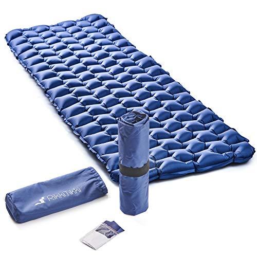 RikkiTikki Premium - Colchoneta de dormir hinchable ligera para acampar - La mejor almohadilla de colchón de aire para mochilas, camping, senderismo (azul)