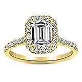 14K Yellow Gold 3 Carat LAB GROWN IGI CERTIFIED DIAMOND Halo Emerald Cut Diamond Engagement Ring (H-I Color VS1-VS2 Clarity 2.5 Ct Center)