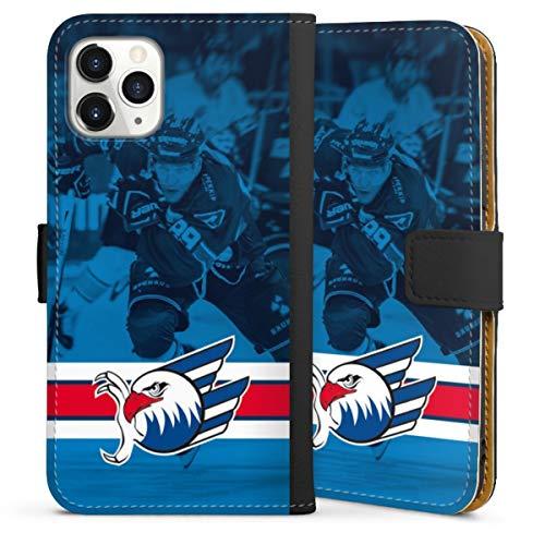 DeinDesign Klapphülle kompatibel mit Apple iPhone 11 Pro Handyhülle aus Leder schwarz Flip Case Eishockey Logo Adler Mannheim