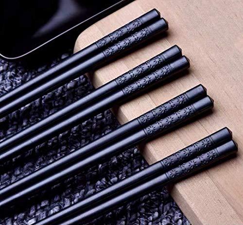Bosdontek Japanische Sushi EssstäBchen 5 Pairs EssstäBchen Holz Wiederverwendbare Natürliche EssstäBchen Waschbar Chopsticks EssstäBchen Geschirr Set Mit Luxuriöse Schwarz Box (Style A) (Style E)