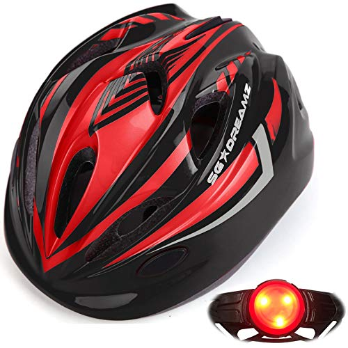 Kids Helmet – Adjustable from Toddler to Youth Size, Ages 3 to 7 - Durable Kid Bicycle Helmets with Fun Racing Design Boys and Girls Will Love (K12-1LightBlackRed)