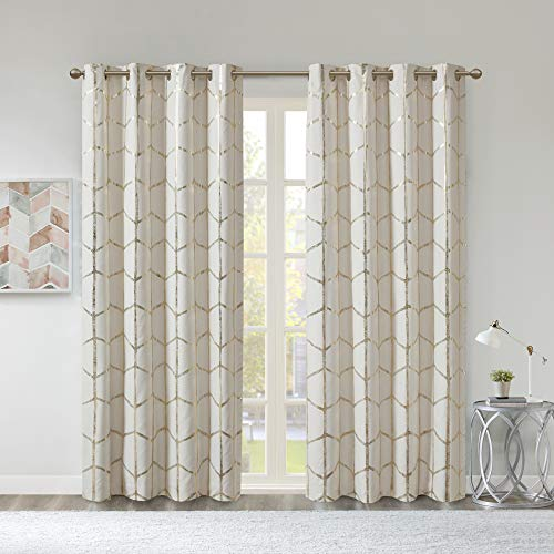 Intelligent Design Raina Total Blackout Metallic Print Grommet Top Single Window Curtain Panel Thermal Insulated Light Blocking Drape for Bedroom Living Room and Dorm 1 Piece, 50x84, Ivory/Gold