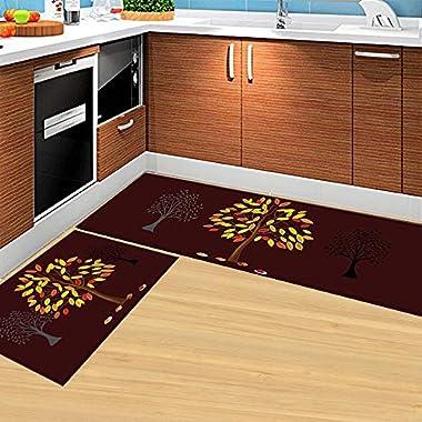 HEBE Kitchen Rugs Set of 2 Piece Non-Skid Kitchen Mats and Rugs Machine Washable Kitchen Rug Runner Doormats Set(16 x47 +16 x24 , Brown)