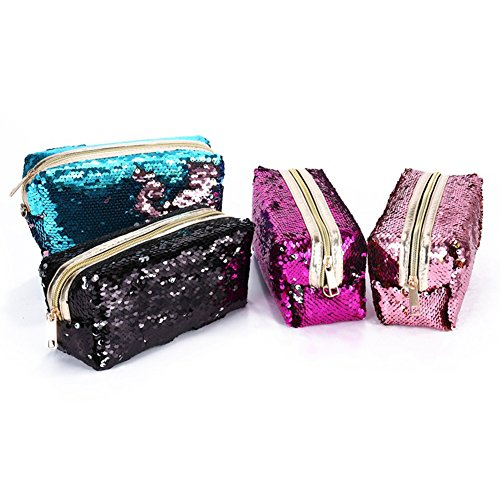 YEMEKE Sequin Cosmetics Bag Makeup Pouch Color Changing Pencil Case Party Handbag (Black)