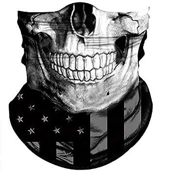 Obacle Skull Face Mask Sun UV Dust Wind Protection Tube Mask Seamless Bandana Skeleton Face Mask for Men Women Bike Riding Motorcycle Cycling Biker Outdoor Festival  Black Gray Skull White Face Flag