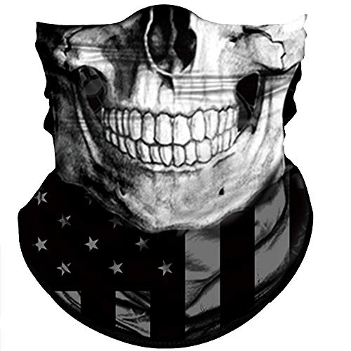 Obacle Skull Face Mask Sun UV Dust Wind Protection Tube Mask Seamless Bandana Skeleton Face Mask for Men Women Bike Riding Motorcycle Cycling Biker Outdoor Festival (Black Gray Skull White Face Flag)